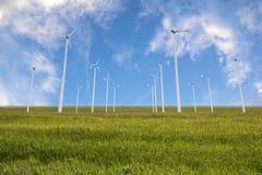 Gruppe der Windkraftanlage im Reisfeld Lizenzfreie Stockfotografie