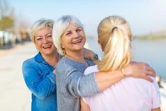 Gruppe des älteren Frauenlächelns stockbild