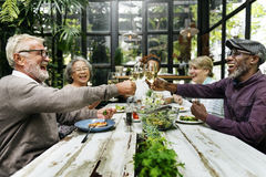 Gruppe des älteren Ruhestands-Treffens herauf Glück-Konzept Lizenzfreie Stockfotos
