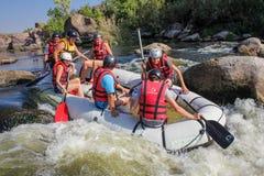 Gruppe des Abenteurers das Wasser genießend, das Tätigkeit in südlichem Wanzenfluß flößt stockfotografie
