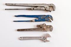Gruppe des alten Klempnerrohrschlüssels Lizenzfreie Stockfotos