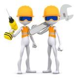 Gruppe des Bauarbeiters mit Ausrüstung. Lizenzfreie Stockfotografie
