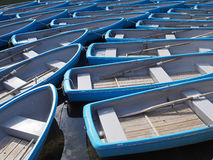 Gruppe des blauen Ruderboots in Fluss Stockfotografie