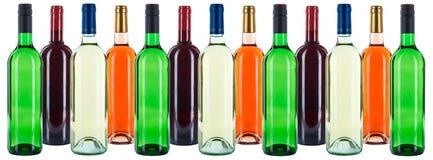 Gruppe des bunten der roten Weißrose Weinhintergrundes der Weinflaschen I stockfotografie