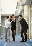 Gruppe des Erfolgsbüros mit drei Personen Stockfoto