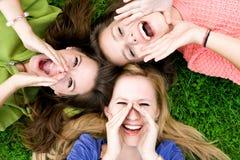 Gruppe des Freundschreiens Stockbilder