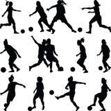 Gruppe des Fußballfrauen-Schattenbildvektors Stockfoto