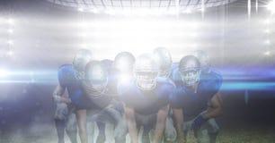 Gruppe des Fußballspielers gegen Landschaft 3d des Funkelns beleuchtet Stockfoto