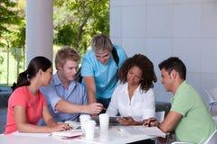 Gruppe des glücklichen Kursteilnehmerstudierens Stockbilder