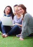 Gruppe des jungen Studenten sitzend auf grünem Gras Stockbild