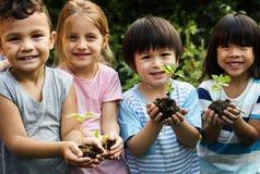 Gruppe des Kindergartens scherzt die Gartenarbeitlandwirtschaft der Freunde stockfoto