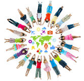 Gruppe des Kinderkreises mit Symbol Lizenzfreie Stockfotografie