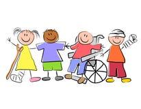 Gruppe des Kranken scherzt Kinderheilkunde lizenzfreie abbildung