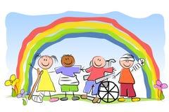 Gruppe des Kranken scherzt Regenbogen Stockbild