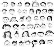 Gruppe des Skizzenleute-Gesichtssatzes Stockfoto