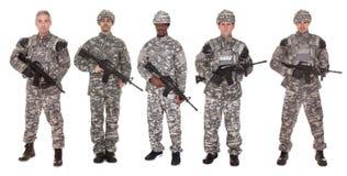 Gruppe des Soldaten mit Gewehr Stockbilder