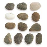 Gruppe des Steins mit dem Beschneidungspfad lokalisiert auf weißem Hintergrund stockbilder