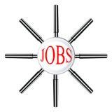 Gruppe, die mit der Lupe verschmilzt als eine in der Partnerschaft findet Jobs, Geschäft und Finanzerfolg sucht Stockbild