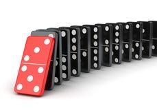Gruppe Dominos in Folge Lizenzfreie Stockfotografie