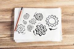 Gruppe drehende Gänge zeichnen die gezeichnete Hand an stockfoto