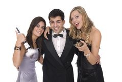 Gruppe elegants Freunde an einer Party des neuen Jahres Lizenzfreie Stockfotografie
