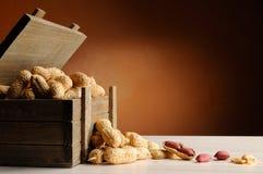 Gruppe Erdnüsse auf einer Tabelle mit hölzernem Behälter des Stammes lizenzfreie stockfotos