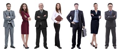 Gruppe erfolgreiche Geschäftsleute, die in Folge stehen lizenzfreies stockbild