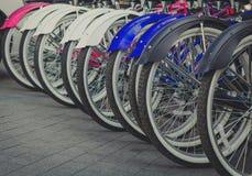 Gruppe Fahrräder auf Parken in Europa Stockfotografie