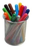 Gruppe Farbfilzstifte in einem Glas Stockfoto