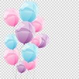 Gruppe Farbglatte Helium-Ballone auf transparentem B Stockfotografie