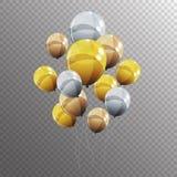 Gruppe Farbglatte Helium-Ballone auf transparentem B Stockfotos