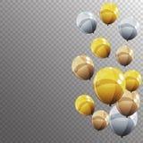 Gruppe Farbglatte Helium-Ballone auf transparentem B Lizenzfreies Stockbild