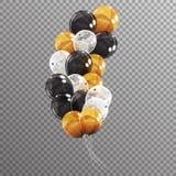 Gruppe Farbglatte Helium-Ballone auf transparentem B Stockfoto