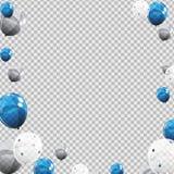 Gruppe Farbglatte Helium-Ballone lokalisiert auf Transperent-Hintergrund Satz Silber, Blau, weiß mit Confett Stockfotografie