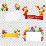 Gruppe Farbglatte Helium-Ballone mit Band auf T Lizenzfreies Stockbild