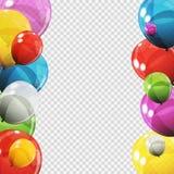 Gruppe Farbglatte Helium-Ballone mit der Leerseite lokalisiert Stockbilder