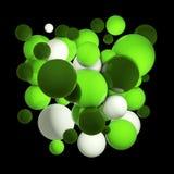 Gruppe farbige Bereiche 3d Fliegenbereiche, abstrakte Blasen Grüne Bälle, lokalisiert ringsum Kugeln Abbildung 3D Lizenzfreie Stockfotografie