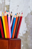 Gruppe farbige Bleistifte im Bleistifthalter Stockbilder