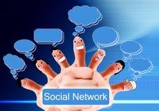 Gruppe Fingergesichter als Sozialnetz Lizenzfreies Stockfoto