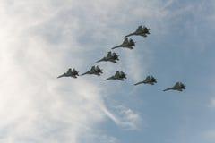 Gruppe Flugzeuge Sukhoi Stockbild