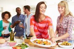 Gruppe Freunde, die Abendessen zu Hause haben Stockfotos