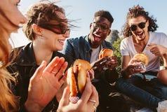 Gruppe Freunde, die Burger auf die Gebirgsoberseite essen stockfotografie