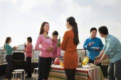 Gruppe Freunde, die einen Grill auf einer Dachspitze haben Lizenzfreie Stockfotografie