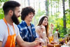 Gruppe Freunde, die Grillpartei in der Natur haben lizenzfreies stockbild