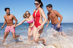 Gruppe Freunde, die Strand-Feiertag genießen Stockbild