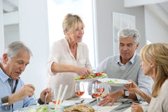 Gruppe Freunde, die zu Abend essen Lizenzfreie Stockfotos