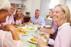 Gruppe Freunde, die zu Hause Mahlzeit zusammen genießen lizenzfreie stockfotos