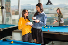Gruppe Freunde, die zusammen Pool spielen Lizenzfreie Stockfotografie
