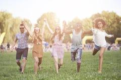 Gruppe Freunde am Festival stockfotografie