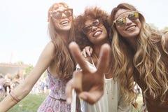 Gruppe Freunde am Festival lizenzfreie stockfotos